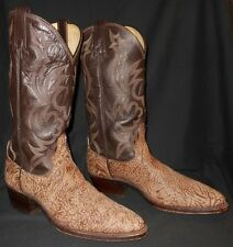 COWBOY BOOTS BULL HIDE TAN/BROWN DAN POST SUEDED BULL SHOULDER  8.5 D