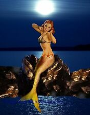 Mermaid Art Print 8 x 10 - Siren on Rock - Pin Up Girl - Pinup - Rockabilly Sexy