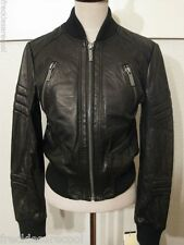 NWT $450 MICHAEL KORS BLACK LEATHER SLIM BIKER BOMBER JACKET S (4 6)