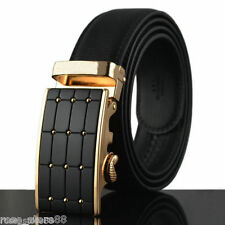 Men's Genuine Leather Gold Automatic Buckle Casual Waist Strap Belt Waistband