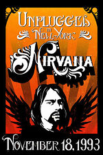 """Grunge: Nirvana """" Unplugged """" in New York Concert Poster 1993 12x18"""