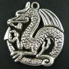 30pcs Tibetan Silver Round Dragon Charms Pendants 32.5x31x3mm 9118