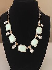 Monet Necklace With Mint Green Stones Gold Tone Crystals Signed Women's  NWT