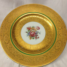 """ROYAL BAVARIAN HUTSCHENREUTHER 10"""" GOLD ENCRUSTED BAILEY BANK BIDDLE PLATE AS IS"""