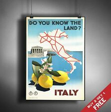 A3 Large ITALY POSTER Vintage Retro Travel Wall Art Home Decor MAP LEMON Picture