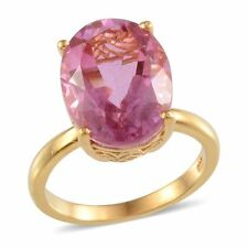 UK M 16x12mm 10ct PINK KUNZITE QUARTZ 14K Gold on Solid Sterling Silver 925 Ring