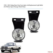 New 1994-2001 Dodge Ram 1500 2500 3500 Clear Fog Lights & Replacement Bulbs