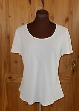 ROMAN cream ivory off-white silver diamante short sleeve tunic top blouse 14 42