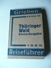 Historischer  REISEFÜHRER, THÜRINGER WALD, kleine Ausgabe , 1929