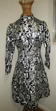 Vintage Silk Brocade Abstract Pattern Dress Rhinestone Buttons Mandarin Collar