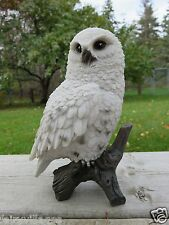 "6.75"" SNOWY OWL FIGURINE TREE STUMP HOOTER STATUE WISE OLD ORNAMENT BIRD NEW"