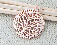 925 Sterling Silver Rose Gold Vermeil Style Coral Pendant