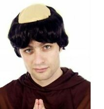 Monk Wig Friar Tuck Abbott Mens Religious Fancy Dress Bald Head Adults Priest