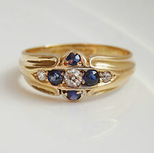 Stunning Antique Edwardian 18ct Gold Sapphire & Diamond Ring c1905; UK Size 'K'