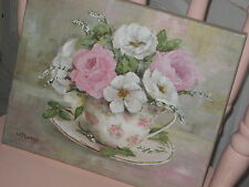 ~Gail McCormack *Shabby Chic* Pink & White Roses~*~ Original Painting ~