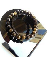 Bracelet en Pierre Naturelle Lithothérapie Minéral Obsidienne Dorées