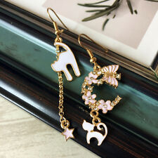 E965 Betsey Johnson Kitten Kitty Tabby White Cat Pink Butterfly Hoop Earrings UK