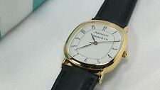 Tiffany & Co. Portfolio Watch Wristwatch Leather Band Gold Electroplated