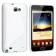 WHITE S-SHAPE Soft TPU Gel Case Cover for Samsung Galaxy Note LTE SGH-i717 AT&T