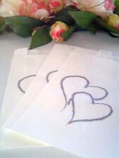 100 Cake Bags For Weddings or Engagements With Silver Hearts Grease Proof Paper