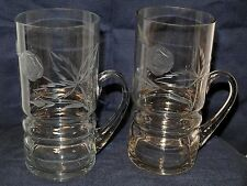 2-Vtg Crystal Etched Leaves/Flowers Tankard/Mugs Applied Handles-16+oz-6.25""