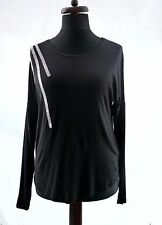 ARMANI JEANS BLACK BEADED  LONG SLEEVE STRETCH MODAL TOP BLOUSE M 12 14 42