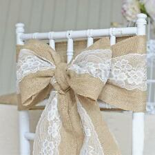 15 x 240cm Vintage Hessian Burlap Jute Lace Chair Sashes Cover Bow Wedding Decor
