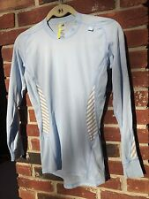 Helly Hansen HH Long Sleeve Base Layer Top Light Blue Grey Thermal  * M RARE!