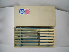 Vintage Boxed Set of 6 'Taylor's Eye Witness' Stainless Steel Large Table Knives