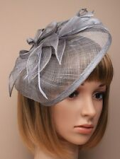 LADIES LARGE silver grey HATINATOR HAIR FASCINATOR 5464 FEATHERS HAT  WEDDING