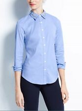 NWT NEW $89 Ann Taylor ligth blue Jeweled collar button down Shirt Top Sz 8