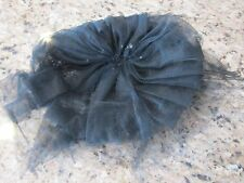 ANTIQUE/VINTAGE BLACK PEGGY LADIES CHURCH HAT TULLE MESH NET