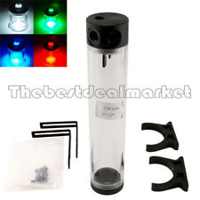 PC Liquid Water Cooling Cylinder 250mmx50mm Reservoir Water Tank Free LED Light