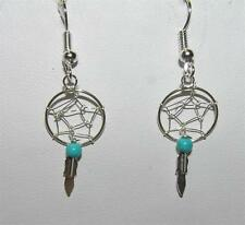 Native American Small Dream Catcher Feather & Turquoise Earrings Sterling Silver