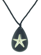 Starfish Necklace in Black Resin Sealife Healing Nature Pendant