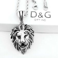 "24"" DG Men's.Necklace Rope-Chain~Lion Head Pendant,Stainless-Steel Silver + Box"