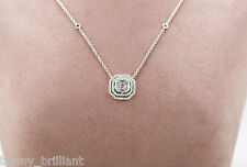 0.85 Ct 18k Solid White Gold Asscher Cut Diamond Pendant Necklace