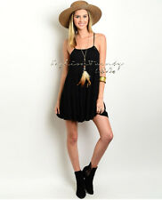 Black BOHO TIERED Loose Sun DRESS Cover Up Babydoll Gauze Beach Backless Tunic S