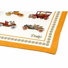 Drake's London Pocket Square Vintage Car Habotai Silk Gold/White