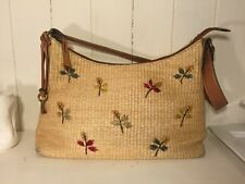 FOSSIL EUC Raffia Jute Straw Shoulder Bag Embroidered Beads