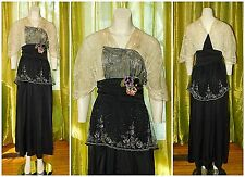 Antique Edwardian TITANIC SILK LACE BEADED Evening Dress Gown