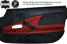 BLACK PERFORATED DARK RED LEATHER 2X DOOR CARD TRIM COVER FITS HONDA S2000 04-09