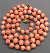 Vintage Chinese Angel Skin Coral Bead Necklace 43 Grams