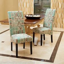 Set of 2 Modern Geometric Teal Fabric Dining Chairs