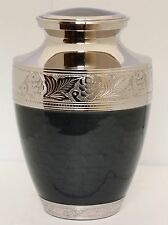 Urn for ashes, Adult Cremation Ashes Urn, Funeral memorial, Black and Silver