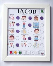 Personalised magnet child behaviour and routine reward chart. imagery and treats