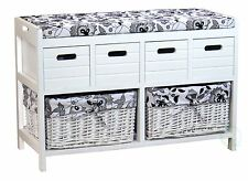 Storage Bench with 4 Drawers and 2 Wicker Baskets