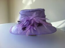 M & S  LILAC  LARGE BRIM  ORGANZA  WEDDING CHURCH HAT ASCOT RACES WOW