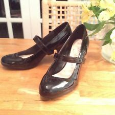 Black Patent Mary Jane High Heels Size 4 37 M&S Great Condition