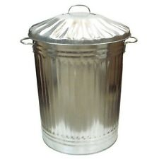 Large 90L Litre Galvanised Metal Bin Rubbish Waste Dustbin Animal Feed Storage
